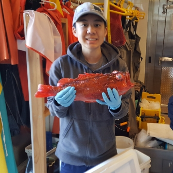Jonathan with a Vermilion Rockfish